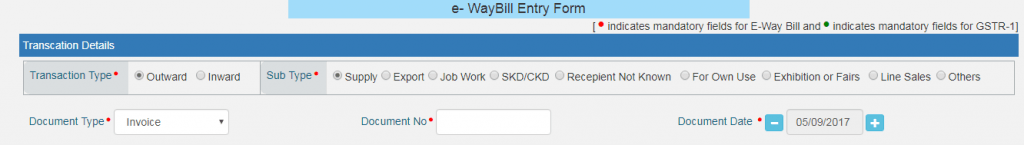 E-way Bill entry form