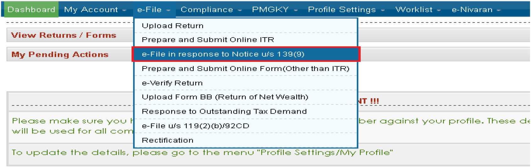 Income Tax Returns Section 139-1