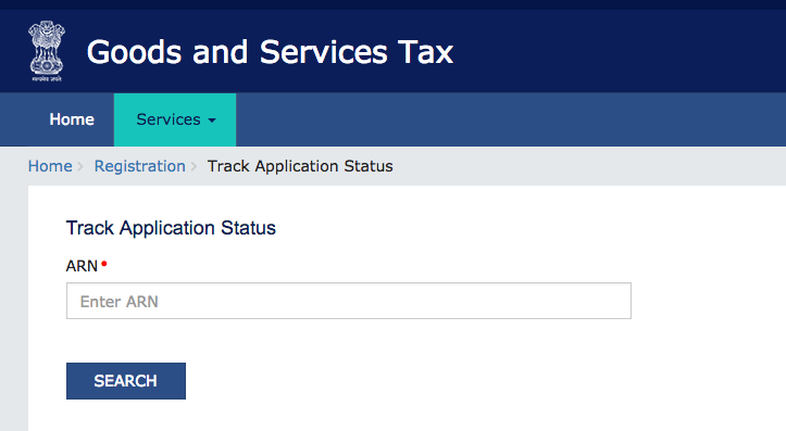 GST Registration Application status