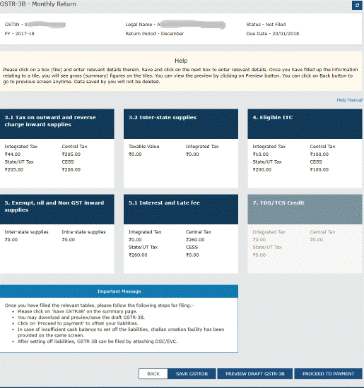 GSTR-3B Filing Monthly Return Details