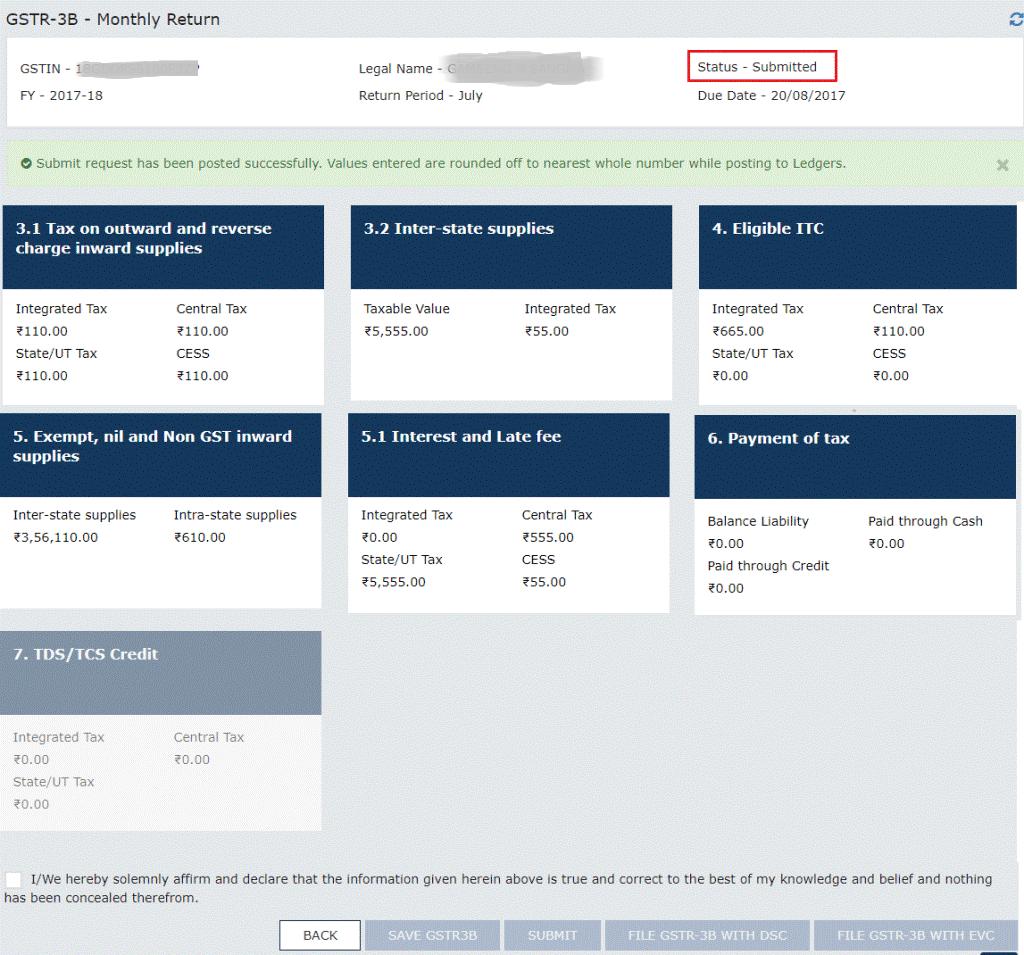 GSTR-3B Filing Monthly Return Status