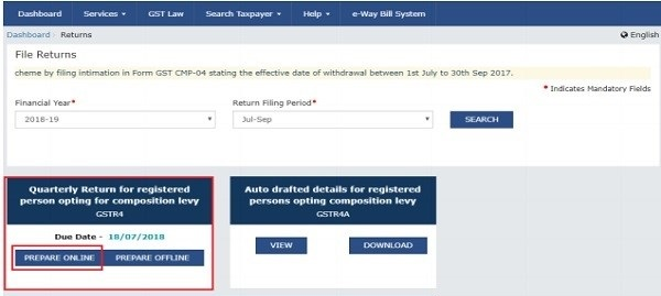 GSTR-4 Filing Dashboard