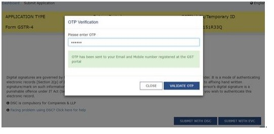 GSTR-4 Filing OTP Verification