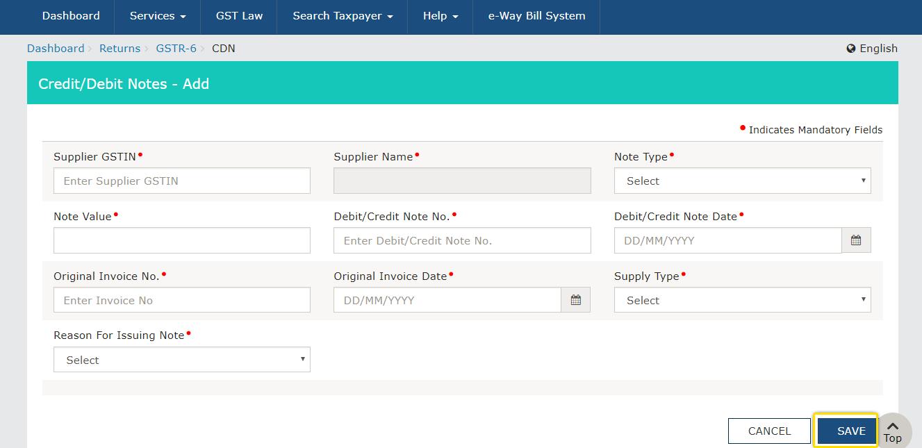 GSTR-6 Debit Notes Credit Notes form