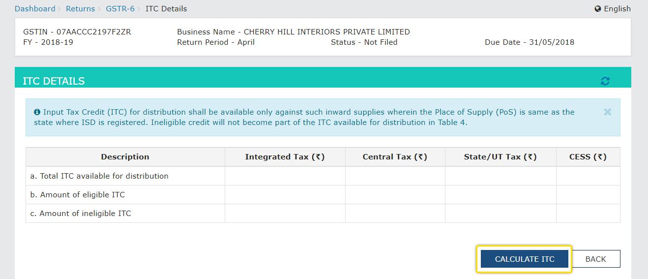GSTR-6 ITC details