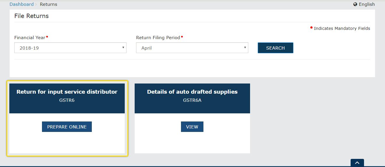 Return for input service distributer GSTR-6