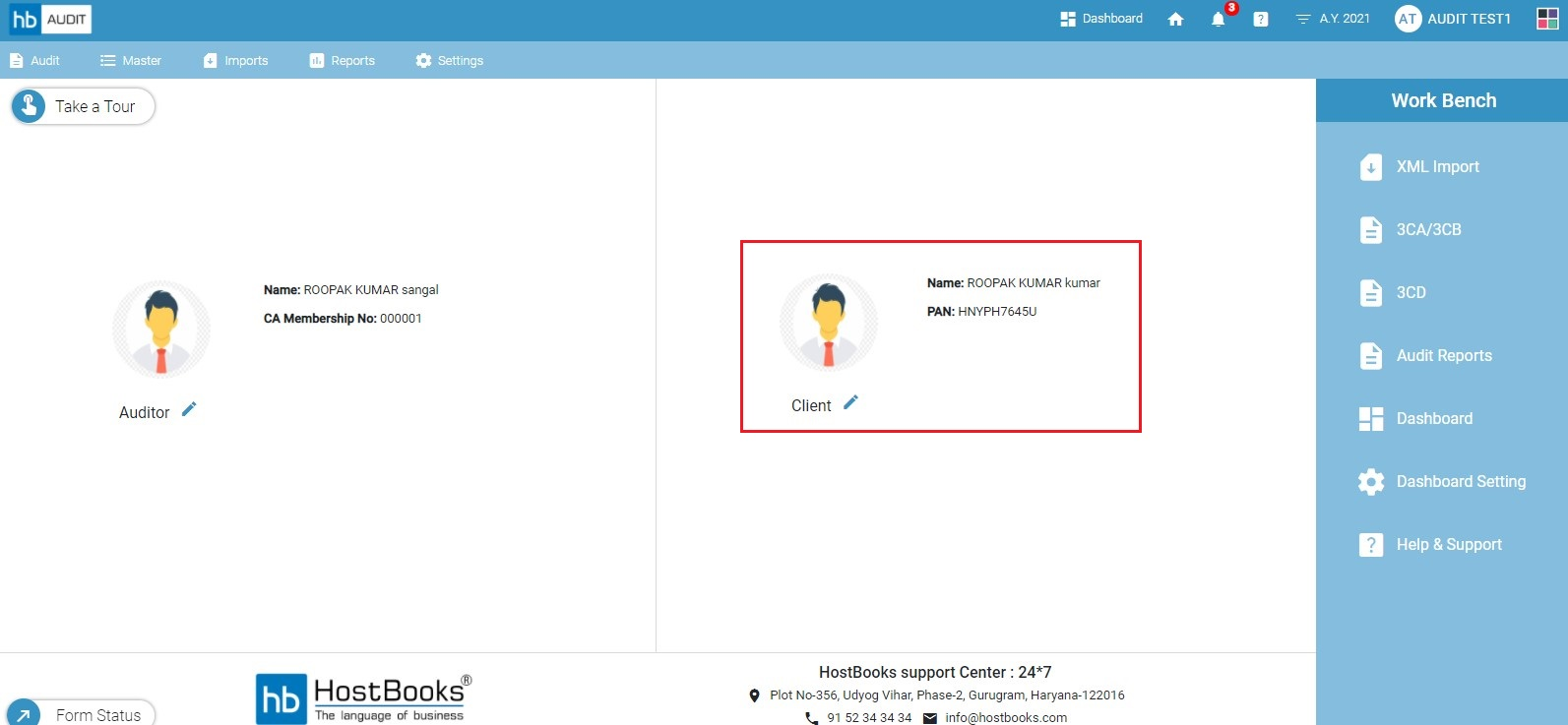 client-information-on-home-page